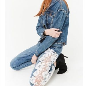 Take 50% off!!🌺 Lace Detailed High Waisted Jeans
